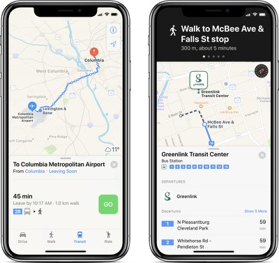 apple maps transit south carolina