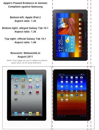 ipad galaxy tab aspect comparison
