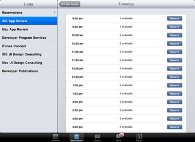 wwdc2011 app reservations