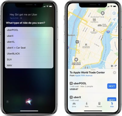uber apple maps siri