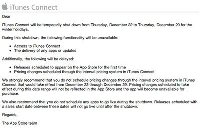 itunes connect 2011 shutdown notice