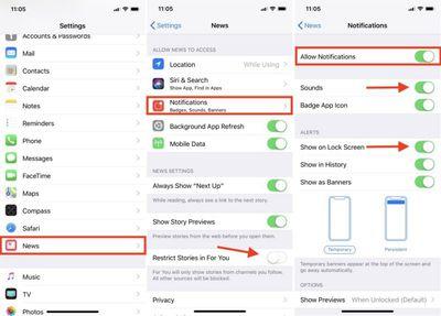 apple news notifications
