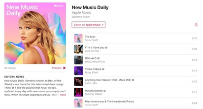apple music new music daily playlist