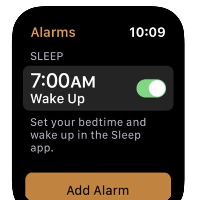 apple watch sleep app in alarms app