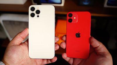 iphone 12 mini iphone 12 pro max in hand