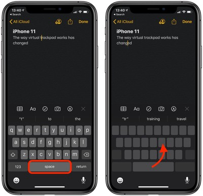 virtual trackpad on iphone 11