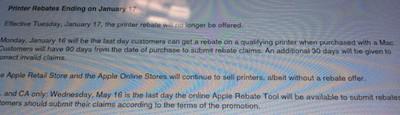 printer rebate discontinued