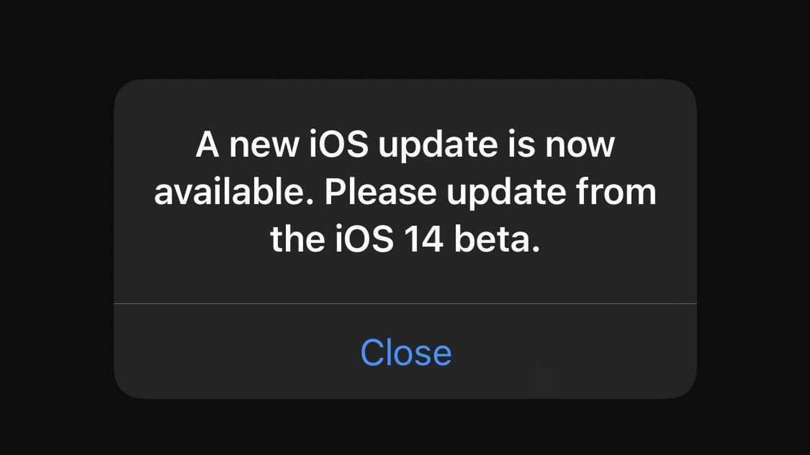 A New Ios Update Is Now Available Popping Up Repeatedly In Ios 14 Beta Fixed New Beta Available Macrumors