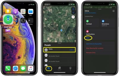 how to get notifications in Find My when a friend relocates 2