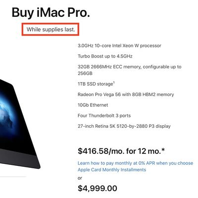 imac pro while supplies last