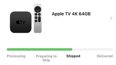 apple tv 4k 2021 shipped