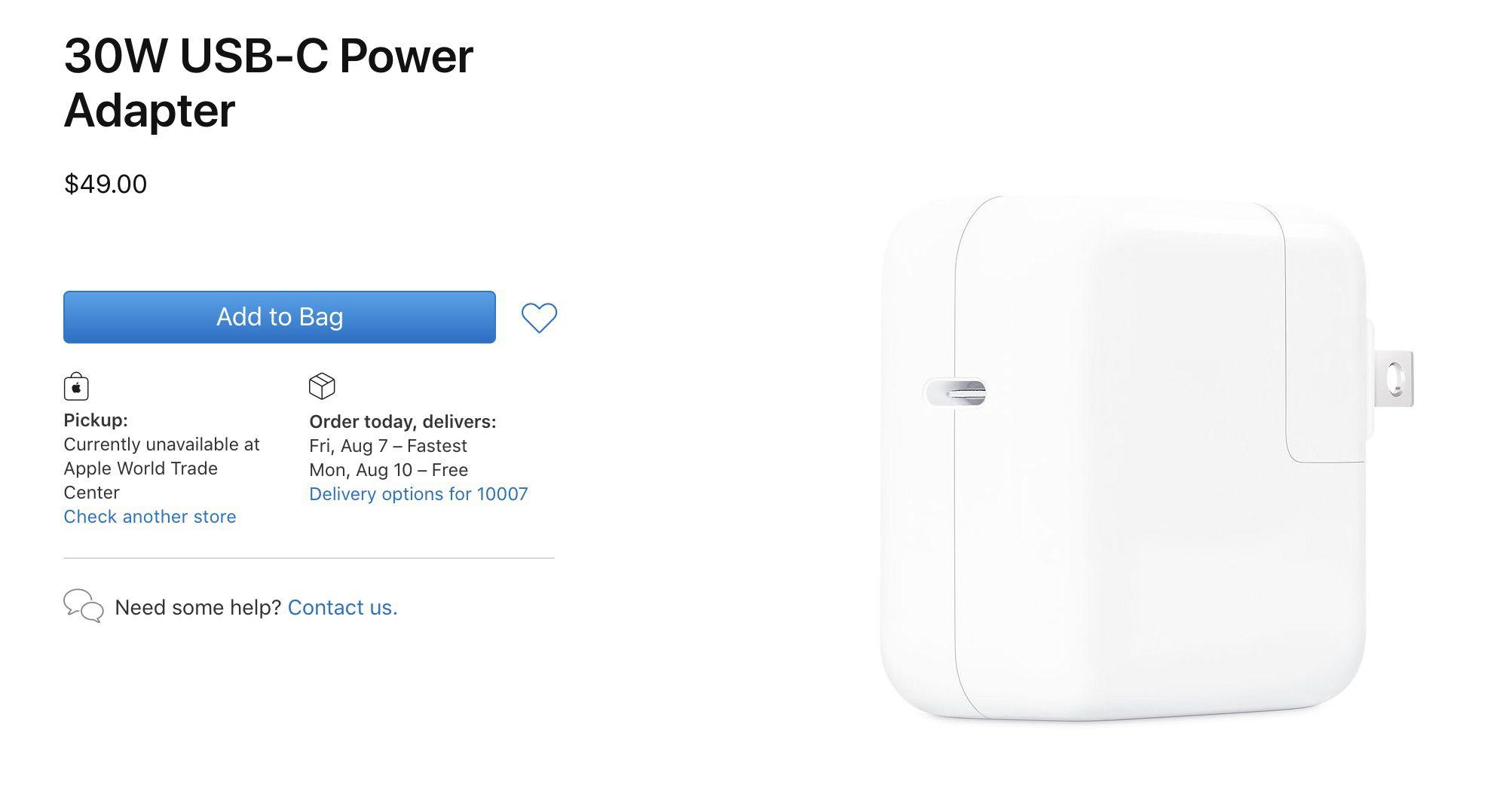 apple 30w usb c power adapter 2020.'
