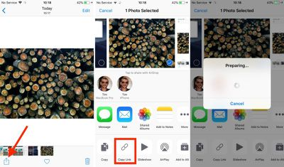 how to share an icloud photo link in ios 12 01