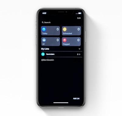 ios 13 reminders app dark mode leak