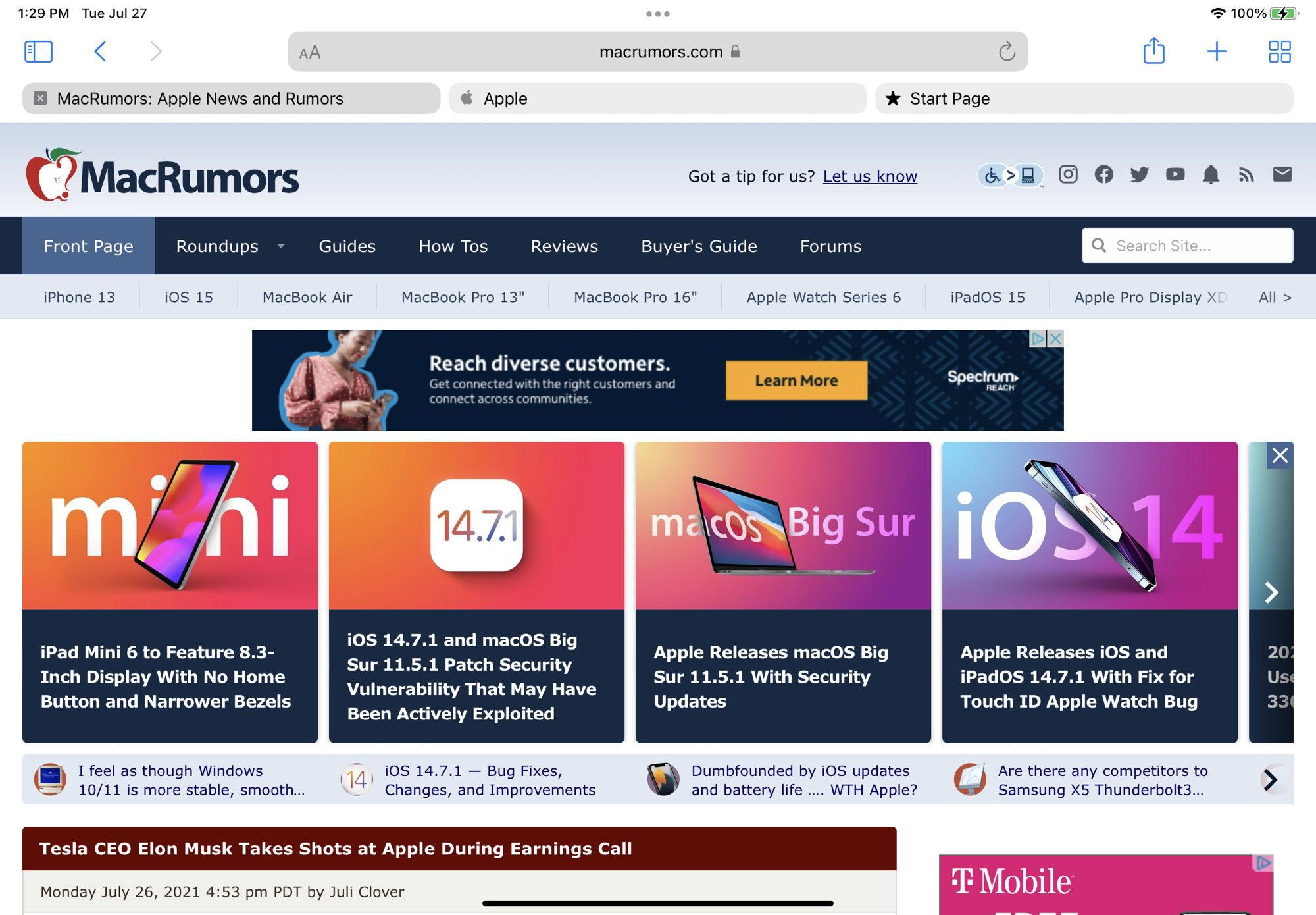 iPadOS 15 Gains macOS Monterey's Redesigned Safari Tab Interface
