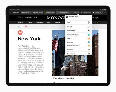 Apple iPadPro iPadOS15 safari safariextensions 060721 big
