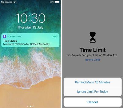 ios 12 app limit warnings