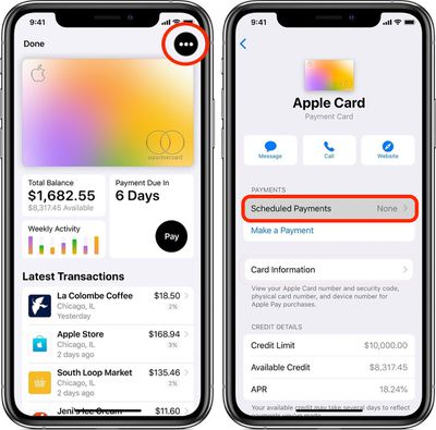 apple card scheduled payments