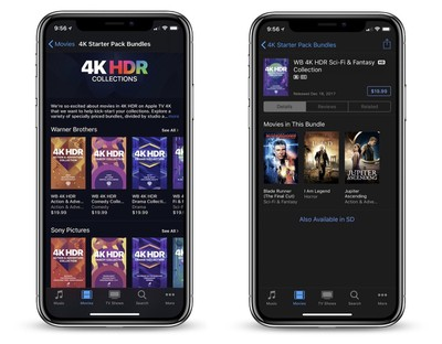 itunes movies 4k hdr bundles