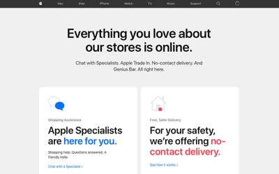 apple online shopping services webpage