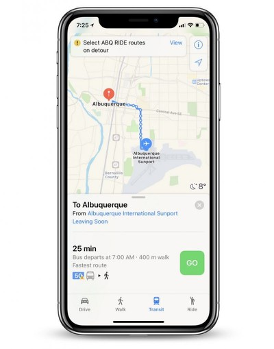 apple maps transit albuquerque