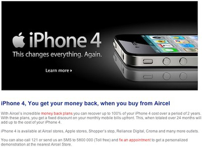 aircel iphone 4