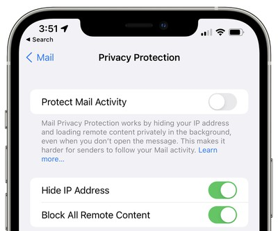 mail privacy protection disabled