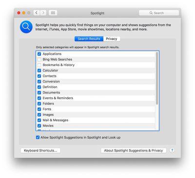 Spotlight Safari search