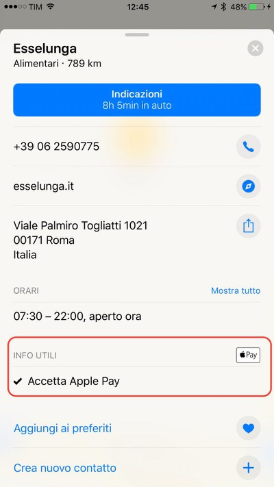 apple pay Italy maps app