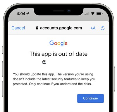google gmail app outdated warning