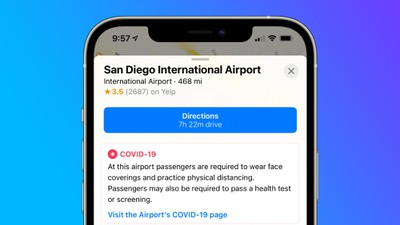 apple maps covid airport info