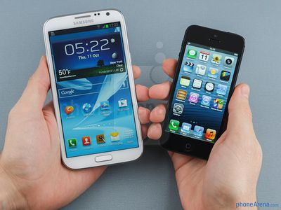 galaxy note ii iphone 5