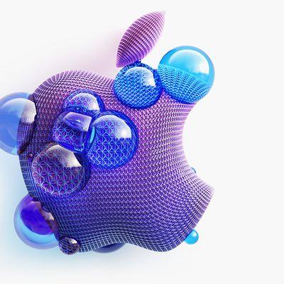 apple logo purple blue