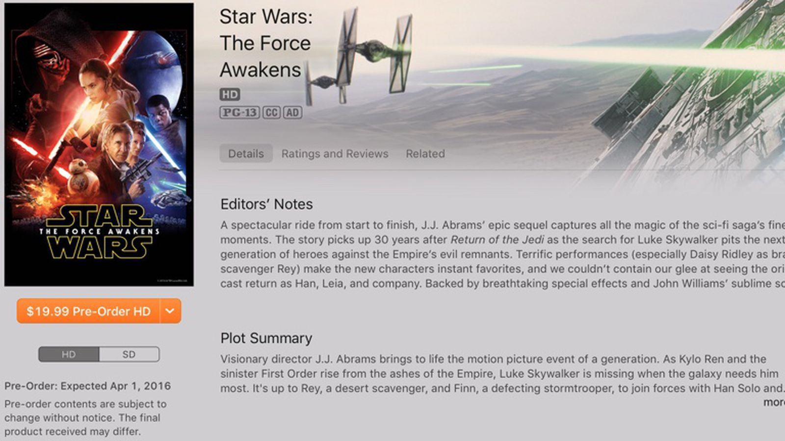 Star Wars The Force Awakens Coming To Itunes On April 1 Macrumors