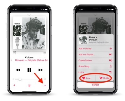 how to use love dislike buttons apple music