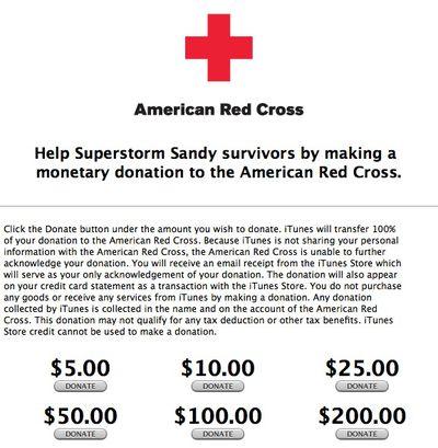 superstorm sandy itunes donations