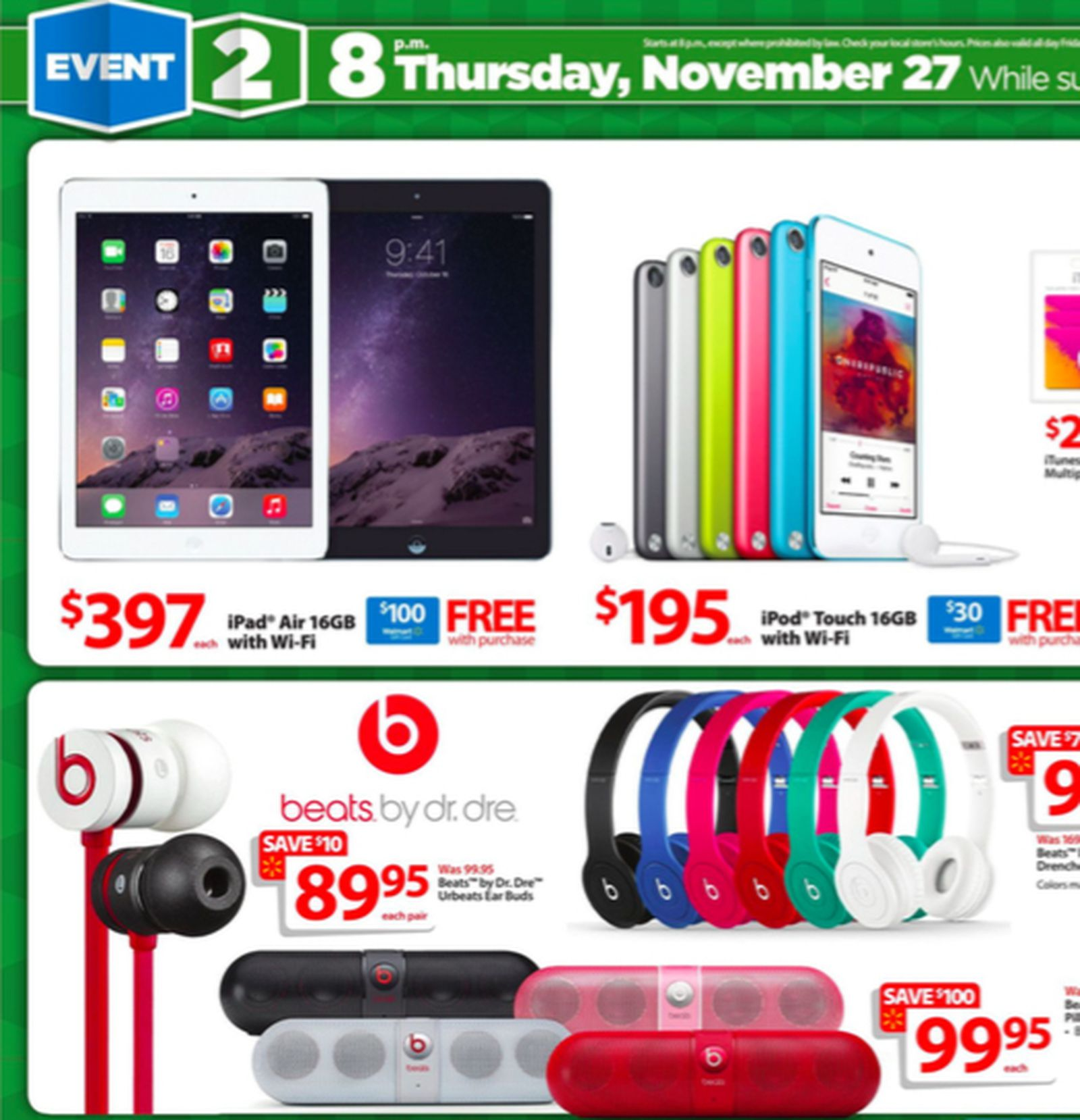 Wal Mart Offering Gift Cards With Purchase Of Discounted Ipads And More On Black Friday Macrumors