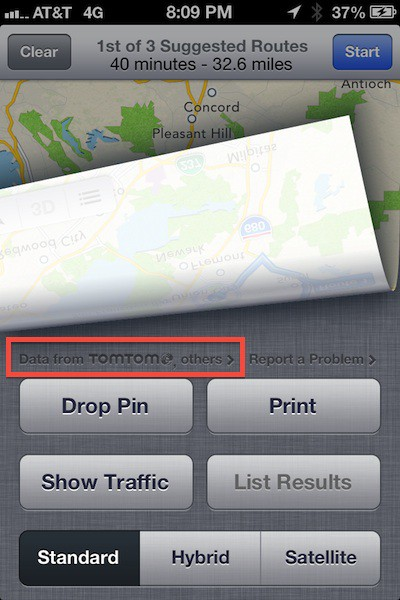 ios 6 maps tomtom
