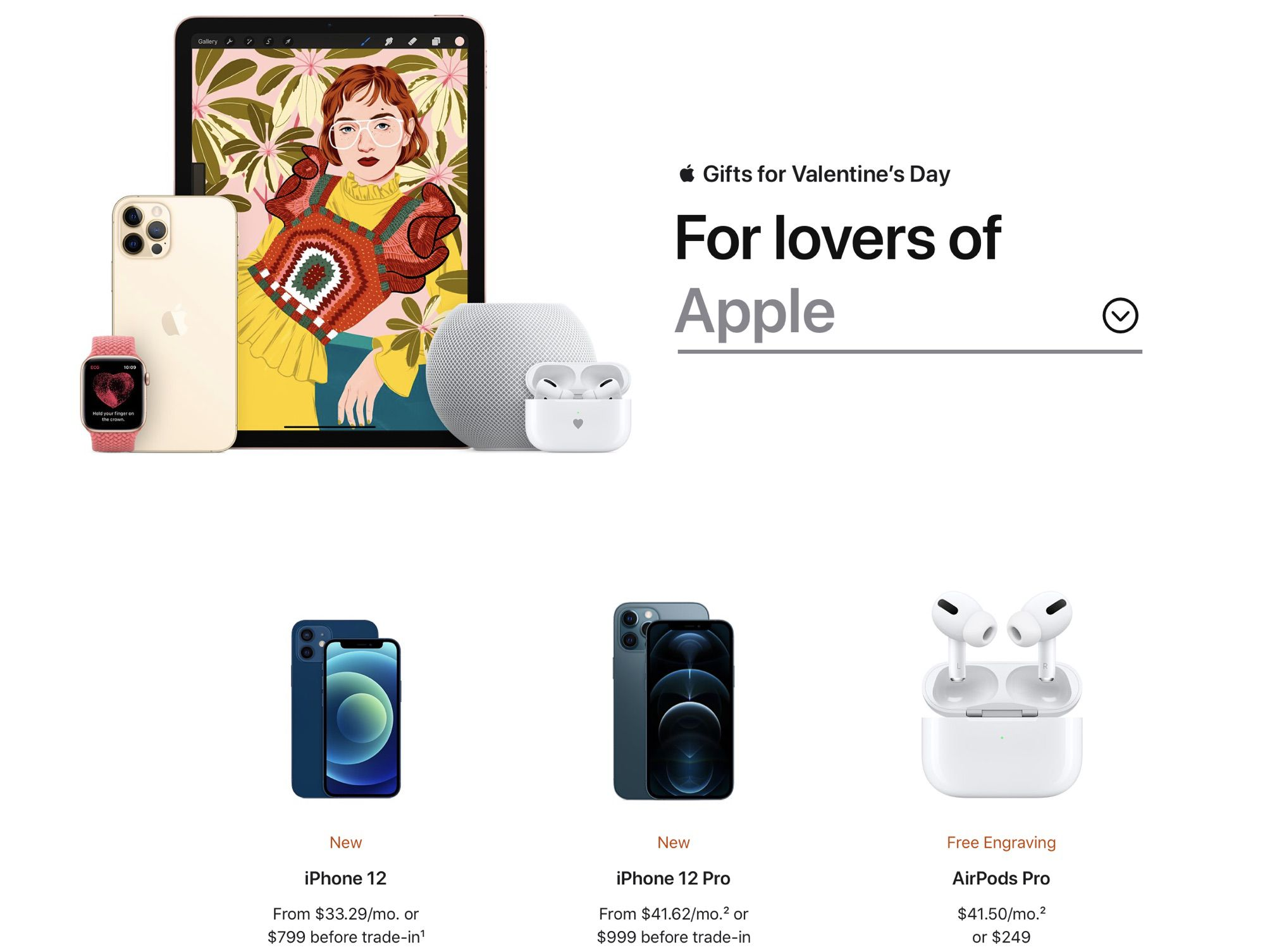 photo of Apple Highlights iPhone 12, AirPods, HomePod Mini and More in Valentine's Day Gift Guide image