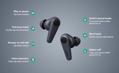 aukey true wireless earbuds controls
