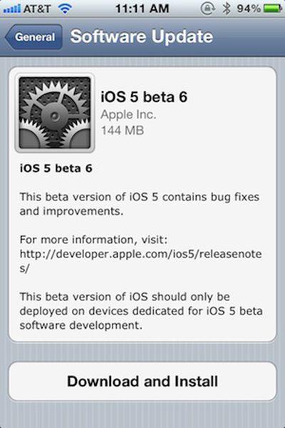 ios 5 beta 6 ota