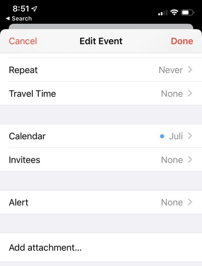 iOS 13 Attachments in Calendar