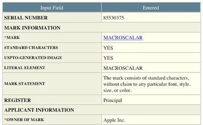 macroscalar trademark application