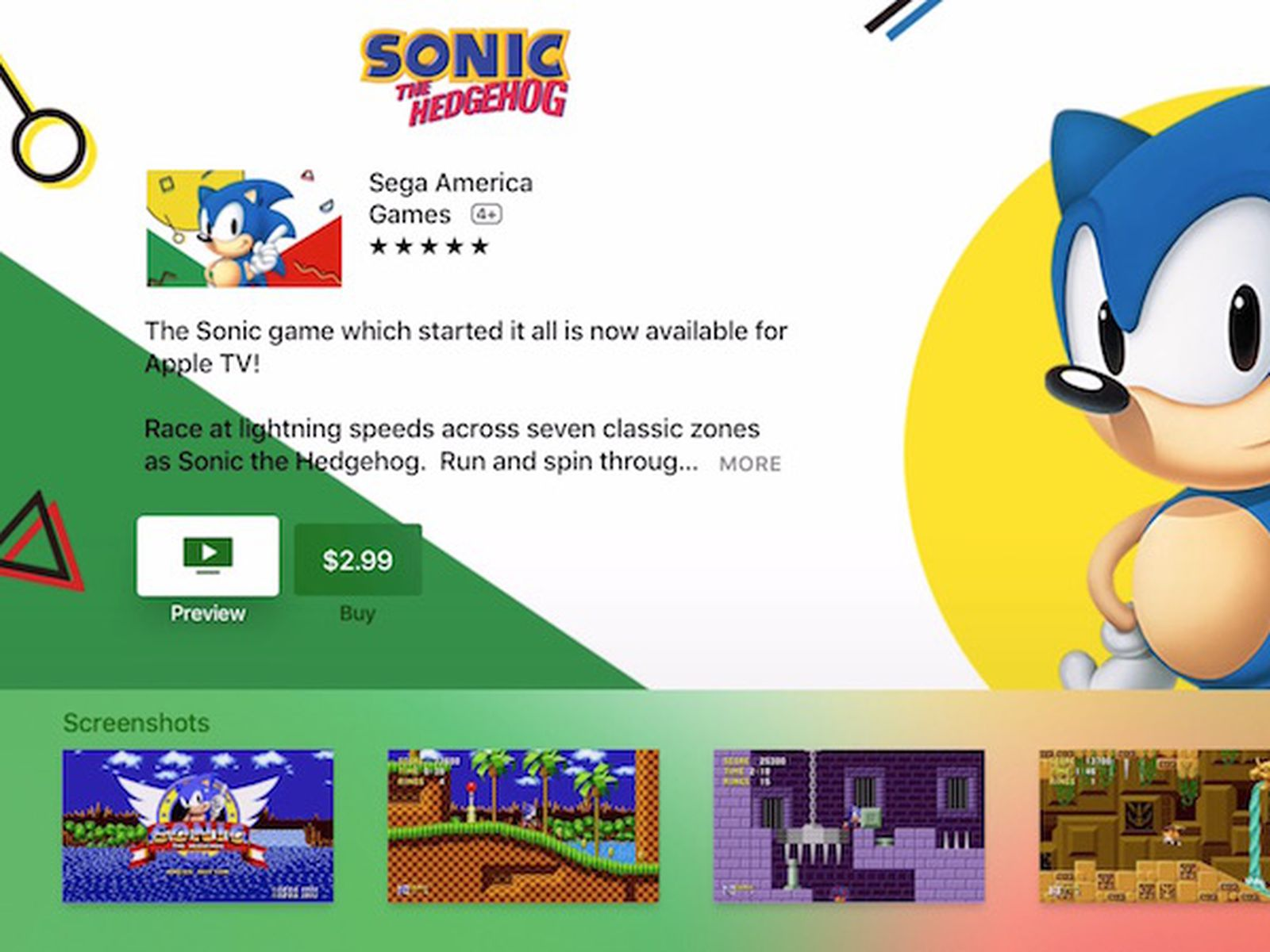 Sonic The Hedgehog Available Today On Apple Tv Sequels Coming Soon Macrumors