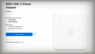 apple 96w power adapter shipping