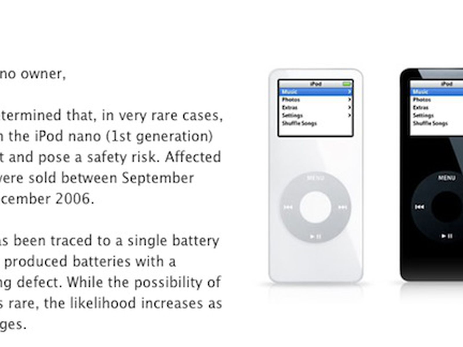 Apple Launches Worldwide Replacement Program For First Generation Ipod Nano Macrumors