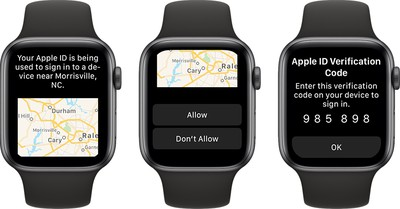 apple watch apple id verification code watchos 6