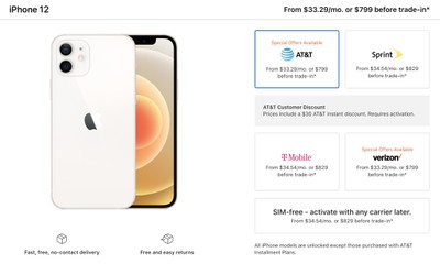Iphone 12 And Iphone 12 Mini Cost 30 Extra For T Mobile Sprint Or Sim Free Models Updated Macrumors