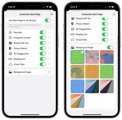 Customize iOS 15 Safari homepage
