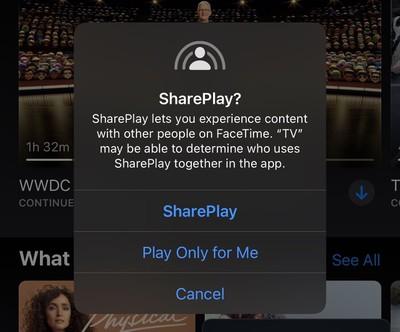 shareplay apple tv app